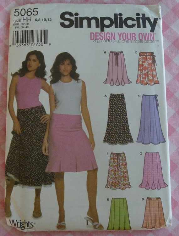 UNCUT 2004 Simplicity Pattern 5065 Design Your Own Skirts..Misses Skirt in Four Lengths..Size 6-12