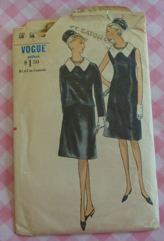 Vintage 1960s Vogue Pattern 6341..Misses One-Piece Dress and Jacket..Size 18, Bust 38 and Hip 40