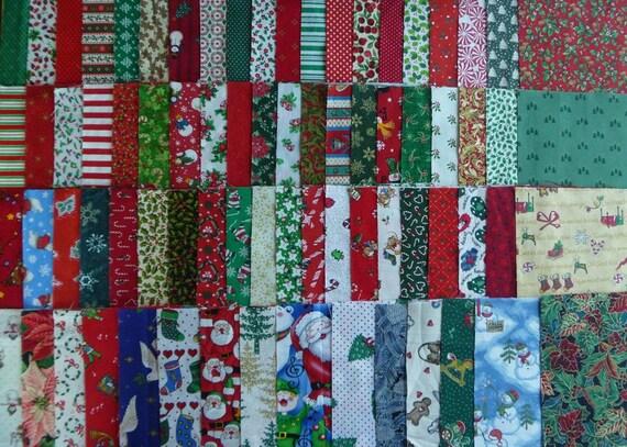75 Assorted 6 Inch Christmas Fabric Squares..Christmas Fabric Scraps-Destash Fabric