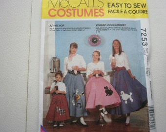 Pattern  Costume At The Hop  Poodle Skirts-with Petticoat,Girls Sz 3-6 OOP  McCalls 7253
