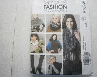 Pattern Fashion Accessories LegWarmers Scarves Gloves Beret McCalls 6214