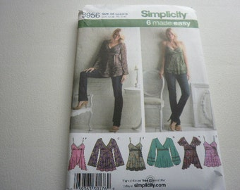 Pattern Ladies Tops 6 Styles Sizes 4 to 12 Simplicity 3956