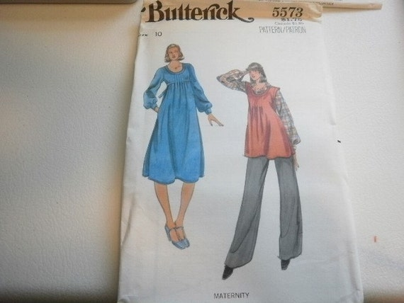 Pattern Vintage   Ladies Maternity Dress  Pants and Top  Size 10 Butterick 5573