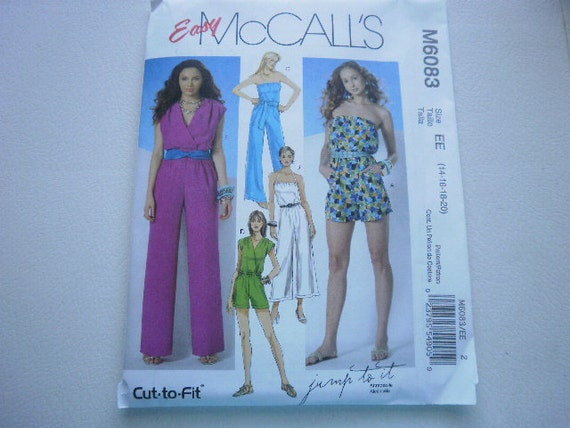 Pattern Ladies Jumpsuits 3 Lengths and Sash Sizes 14-20 McCalls 6083