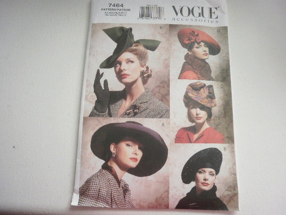Pattern Vintage Ladies Hats 1930's and 1940's Vogue 7464