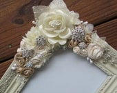 Custom Wedding Beige and Cream Ribbon Rose and Jewel Embellished Picture Frame
