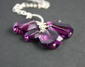 Purple Amethyst Graphic Crystal Cluster Long Sterling Silver Chain Necklace - Everyday - Casual - Bridal Party