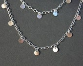 Silver Shimmer Discs on Long Chain Necklace - Everyday Wear - Best friend gift - Sterling Silver Jewelry