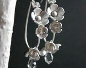 Teardrop Silver Flower and Crystal Hoop Earrings