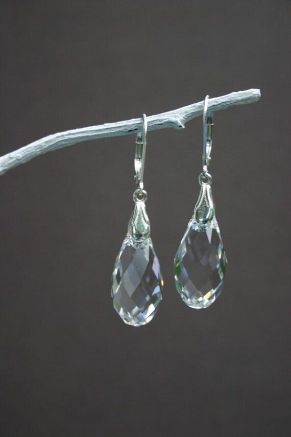 Large Clear Swarovski Briolette Pendant Earrings - Bridesmaid Earrings - Sterling Silver Jewelry - Summer Wedding