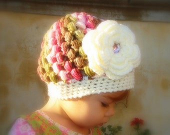 Pattern Confetti Betty Bubble Beanie with flower PDF crochet baby toddler girl Newborn 3 6 12 24mo, 1yr 2T 3T 4T, 5T  Teen adult