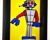 Tin Robot Toy 1950s Robot 3D Pop Artwork Print Children Art