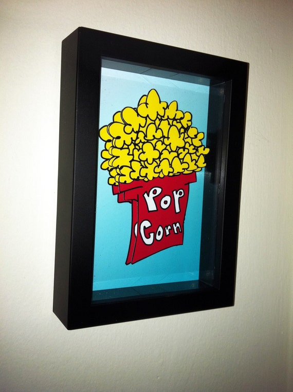 funny kitchen art popcorn artwork 3d pop artwork movie theater. Black Bedroom Furniture Sets. Home Design Ideas