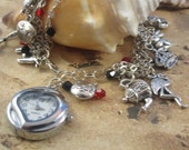 Charm Bracelet with Heart Watch Alice in Wonderland