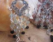 Aquamarine and Black Swarovski Earrings