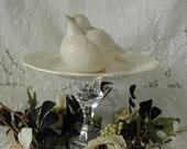 RESERVED !!   Vintage Glassware Upcycled Restyled Pedestal Dish Showcase Display  w/ White Ceramic Bird Shabby Chic Cottage Decor