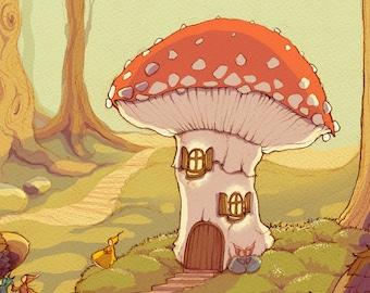 Mushroom Land - signed print