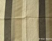 Custom Drapes in Ivory and Black and Tan with Stripe  Pattern 44in X 96in Curtain Panel