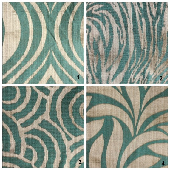 Contemporary Animal Print Curtains - Aqua Blue & Silver - Custom Drapery Panel 44X84in