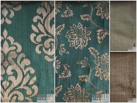 Modern Damask / Stripe / Check Print Curtains - Aqua Blue and Silver Gray - Custom Drapery Sizes