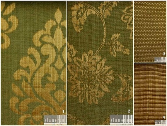 Custom Drapes with Modern Damask / Stripe / Check Print in Green and Beige 44X84in Curtain Panel