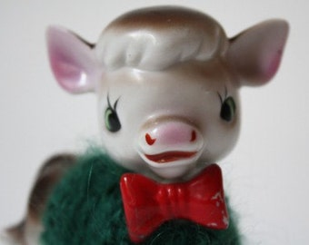 green sweater cow