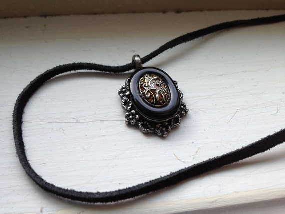 Shabby Chic Hipster Filigree Victorian Inspired Black Leather Necklace with Upcycled Jewelry Pendant