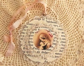 French Inspired Ornament Virgin Mary and Infant Jesus Tattered Shabby Chic Boho