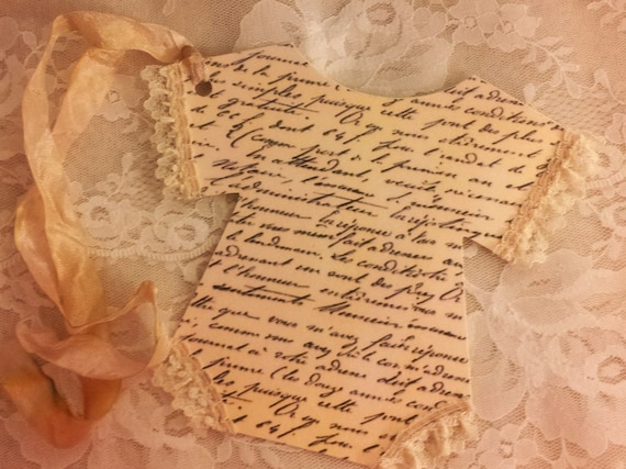 Large Baby Gift Tag Or Invitation French Script Shabby Chic Gustavian