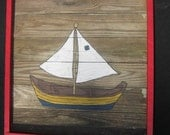 Sail Boat Painting-Recycled Wooden Panel-Vintage-Hand painted