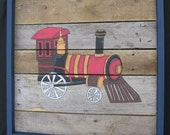 Train Painting-Boy Wall Art-on Recycled Wooden Panel-Red Black-Vintage-Planes Trains and Automobiles