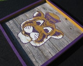LSU Tiger Painting on Wood Panel Small 14in. x 14in-Men's Gift-Mike-Louisiana-Football-Purple and Gold