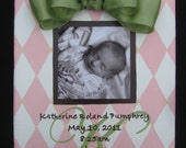 Baby Picture Frame-Birth Announcement Canvas-Painting-Personalized-Pink and White Harlequin with Green Bow