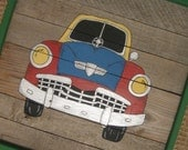 Car Painting on Old Wood Panel-Boy Wall Art