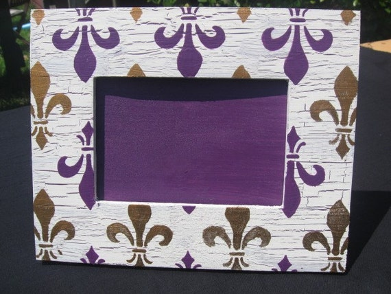 LSU Frame-Purple and Gold Fleur de Lis(4x6)-Vintage Looking-Painting-Unique Gift-Louisiana