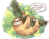 The Happy Sloth Print