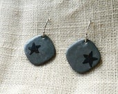 Enamel Steel Grey Star Earrings