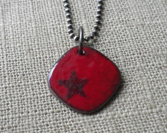 Enamel Flame Red Star Necklace