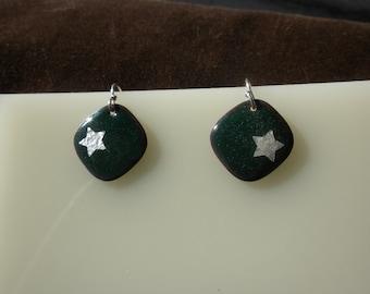 Deep Green Star Enamel Earrings