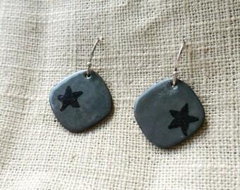 Enamel Steel Grey Star Earrings