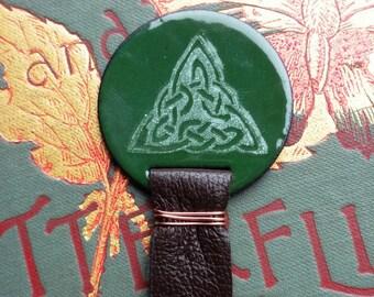Saint Patrick's Day Bookmark Dark Green Celtic Knot Triangle