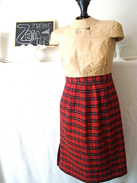 60's Wool Red Plaid Pencil Skirt by Pendleton