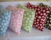 Polka Dot Fleece Pillow Cover Pink Blue Green Red Brown Choice of Color 14 x 14