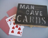 Man Cave Playing Card Box Card Holder Gift Black Wood Distressed  Rustic Primitive Fathers Day
