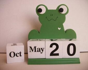 Frog Calendar Perpetual Wood Block  Green