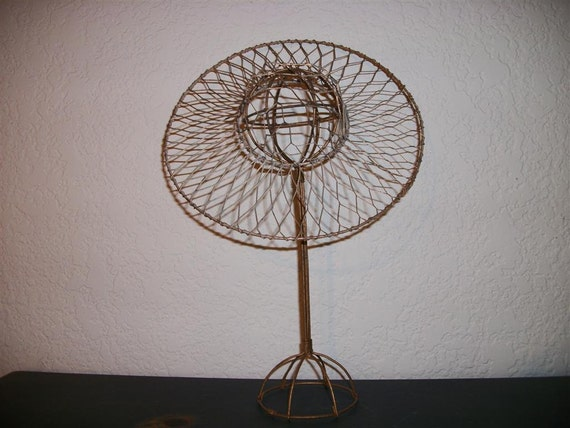 Gold Wire Hat and Stand Set