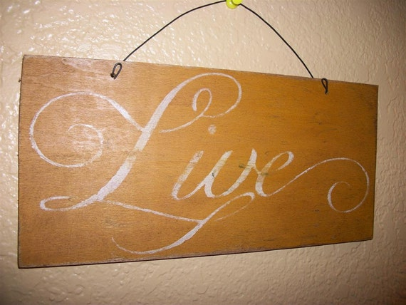 Antiqued LIVE Sign Wall Decor Plaque Gold Distressed Rustic