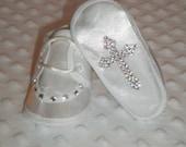 Baby Bling Satin Shoes with SWAROVSKI Rhinestone Cross for Baptism/Christening