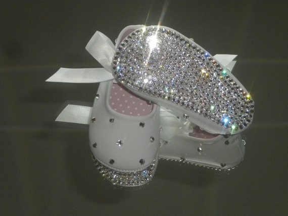 SWAROVSKI Rhinestone Baby Shoes Clear Crystal Baptism / Christening BLING SHOES