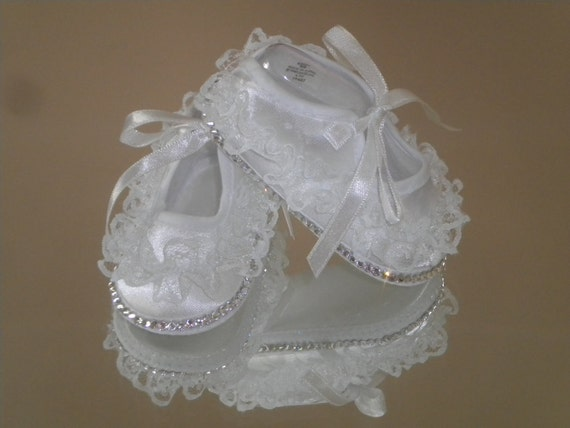 Baby Bling Lace Ruffle Christening Shoes